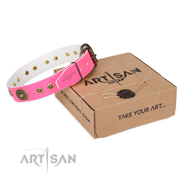 Lady pink leather dog collar with decorations