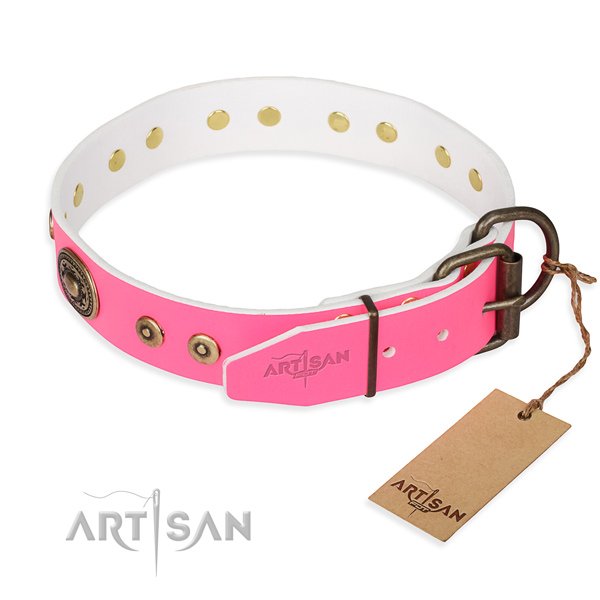 Pink leather dog collar for safe walking