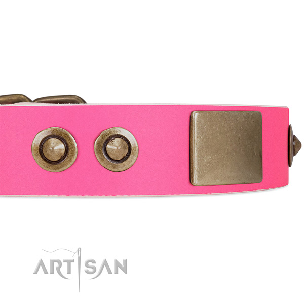 Adjustable Pink Leather Dog Collar with Handset Plates and Circles