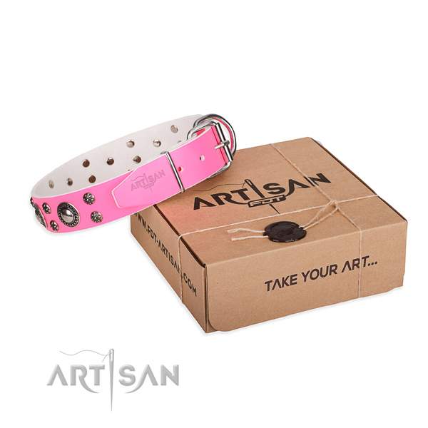 Pink leather dog collar for walking