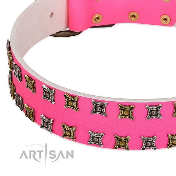 Stylish Pink Leather Dog Collar with Decorative Studs