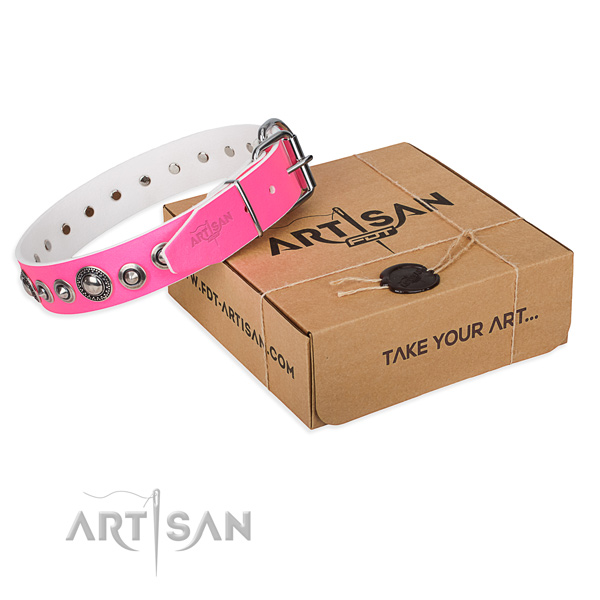 Beauteous pink leather dog collar
