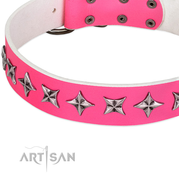 Matchless Design Leather Dog Collar with Silver-like Stars