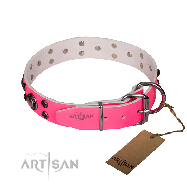 Pink leather dog collar with durable hardware