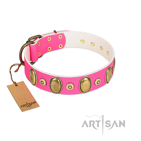Pink Leather Collar at An Affordable Price