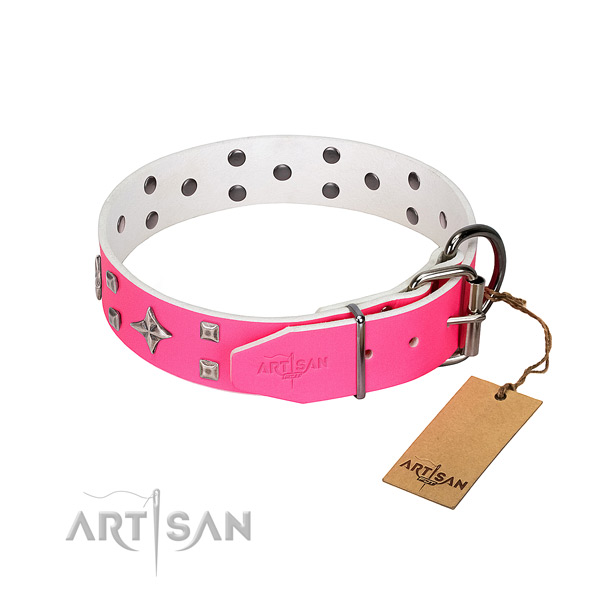Upmarket gentle leather dog collar for gentle control