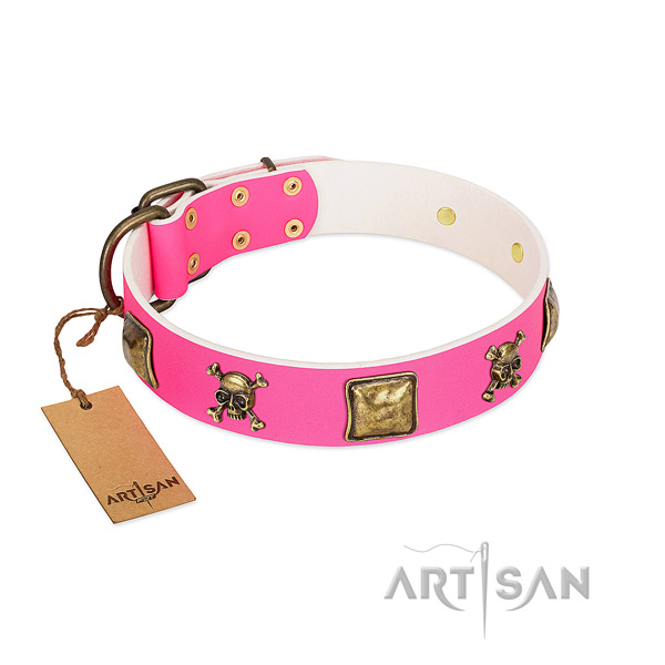 Dog-friendly leather Artisan dog collar with