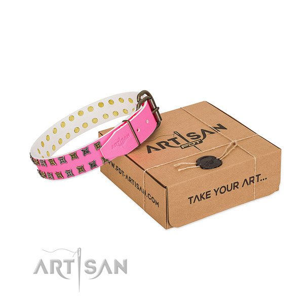 Decorated Pink Leather Dog Collar in Bright Pink Color