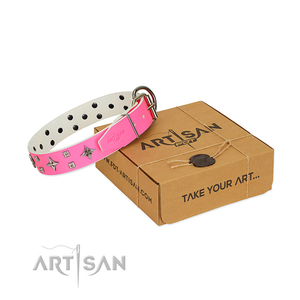 Bright pink leather dog collar for pleasant daily wear
