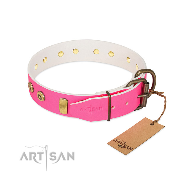 Pink dog collar for female canines