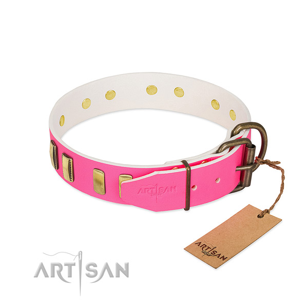 Exclusive pink leather dog collar for daily use