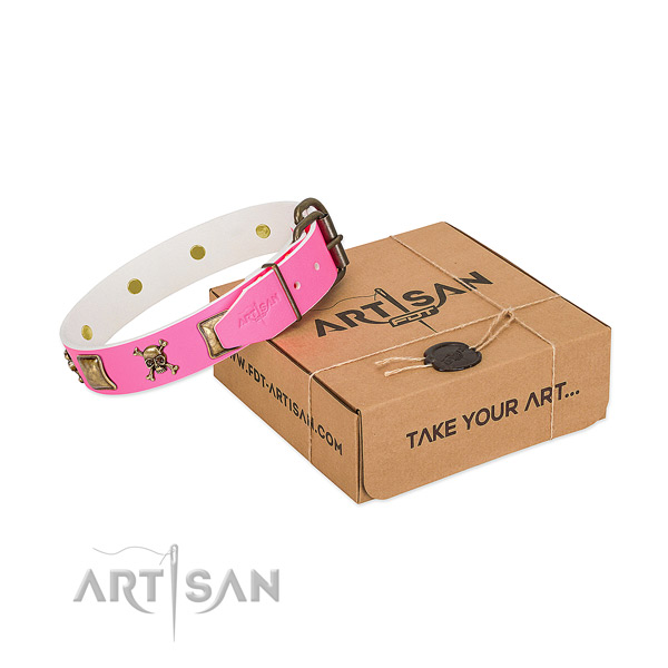 Gorgeous pink leather dog collar for comfortable walking