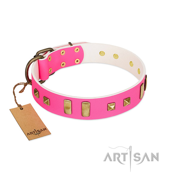 Handmade Pink Leather Dog Collar for Daily Walks