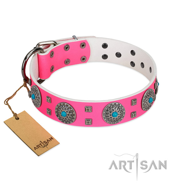 Gorgeous FDT Artisan pink leather dog collar