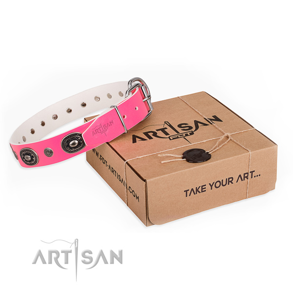Allergy-free pink leather dog collar