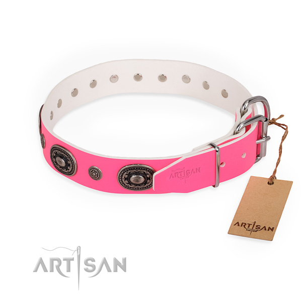Pink leather dog collar with chrome plated fittings