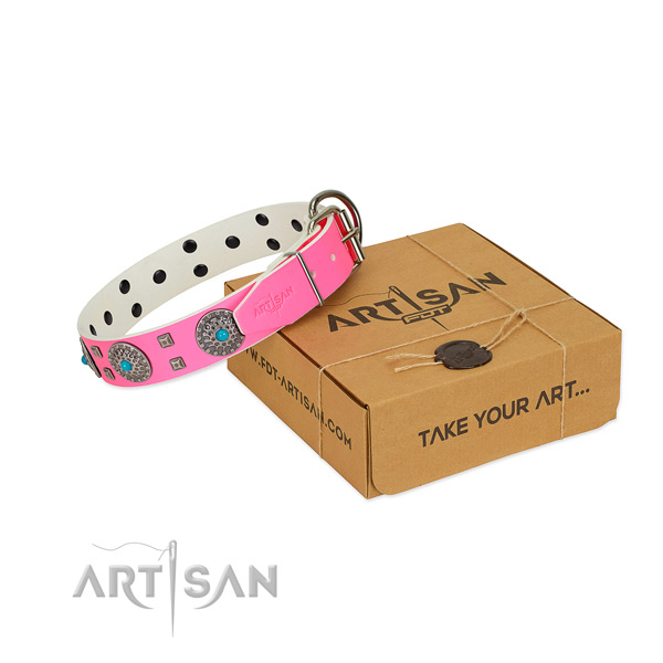 FDT Artisan pink leather dog collar for better handling