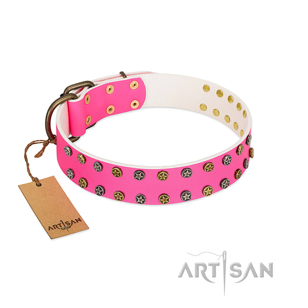 Pink leather dog collar of the best quality