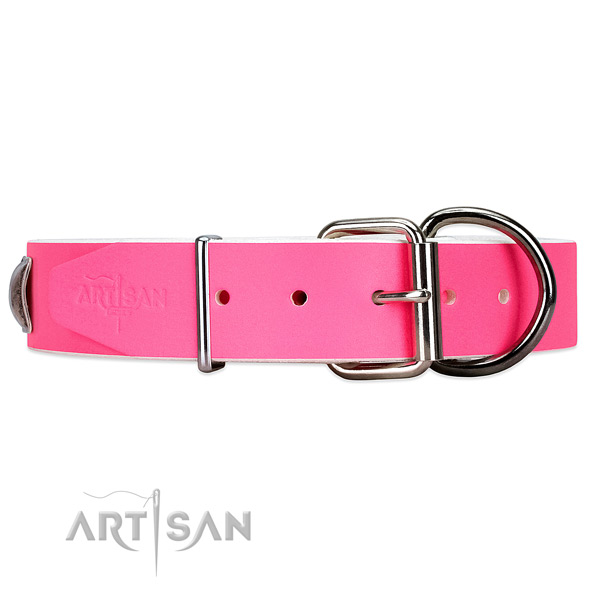 Leather dog collar with safe fittings