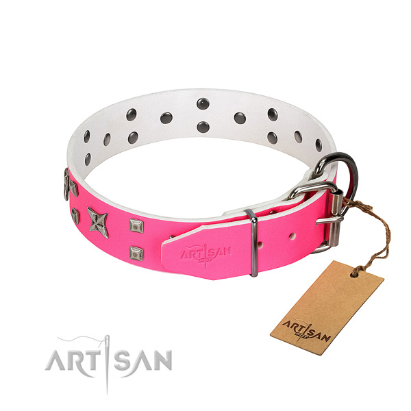 Comfortable to wear pink leather dog collar won't cut into skin