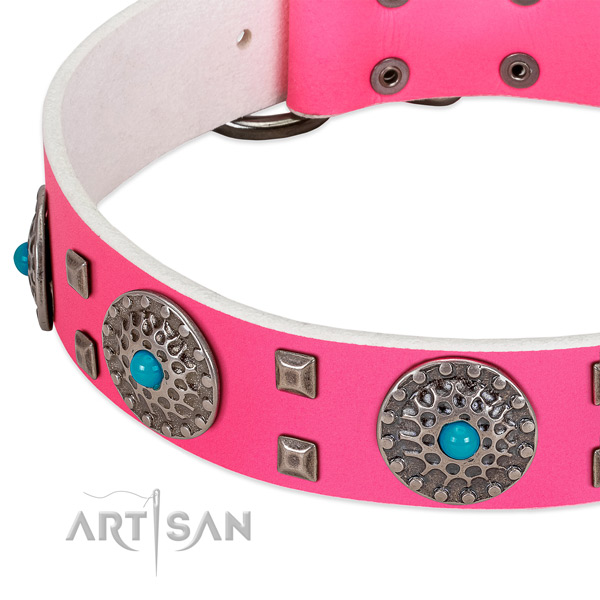 Pink leather dog collar with mix of decorations