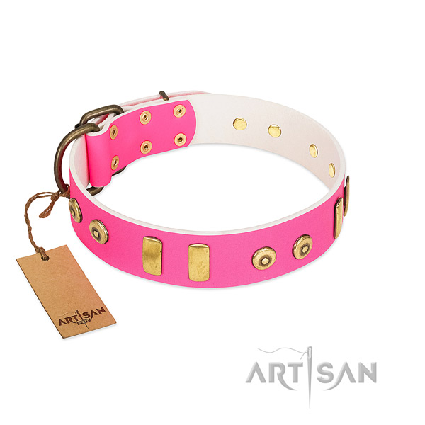 Bright pink dog collar made of top quality materials