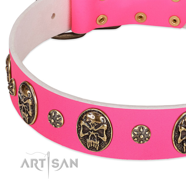 Pink Leather Dog Collar with Plates and Studs