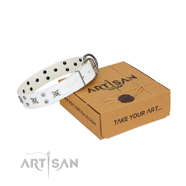White leather dog collar of premium quality materials