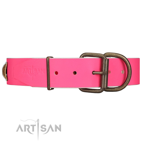 Pink Dog Collar with Rust-proof Hardware for Daily Control