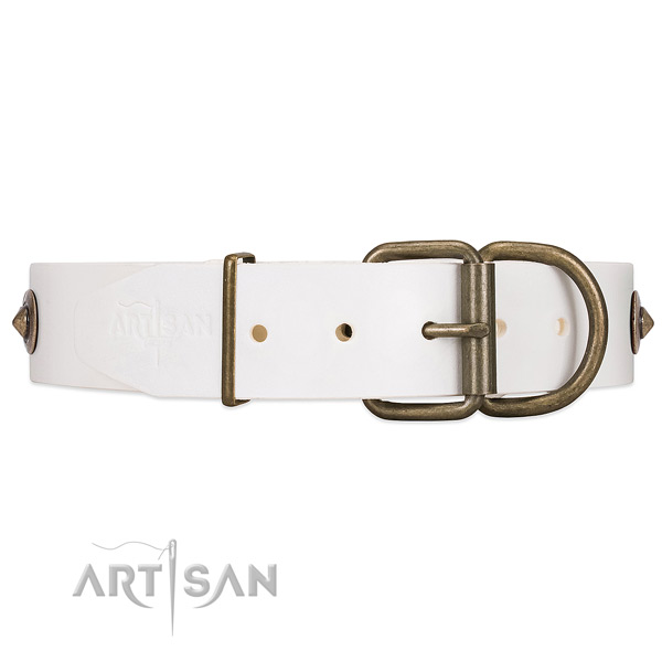 White Leather Dog Collar with Rust-resistant Hardware