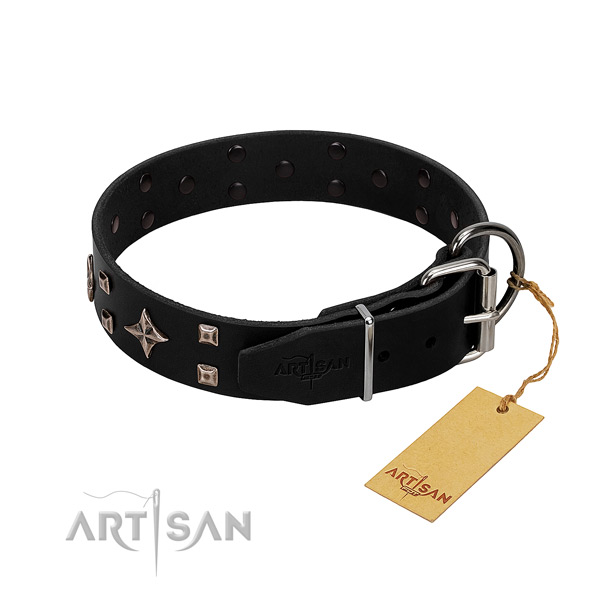 Gentle leather dog collar of black color