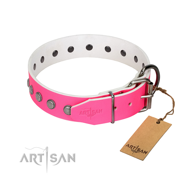 Studded leather dog collar with silver-like plated