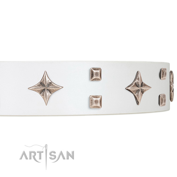 Premium quality white leather dog collar with attractive