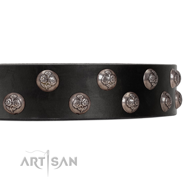 FDT Artisan black leather dog collar with small studs with flower ornament