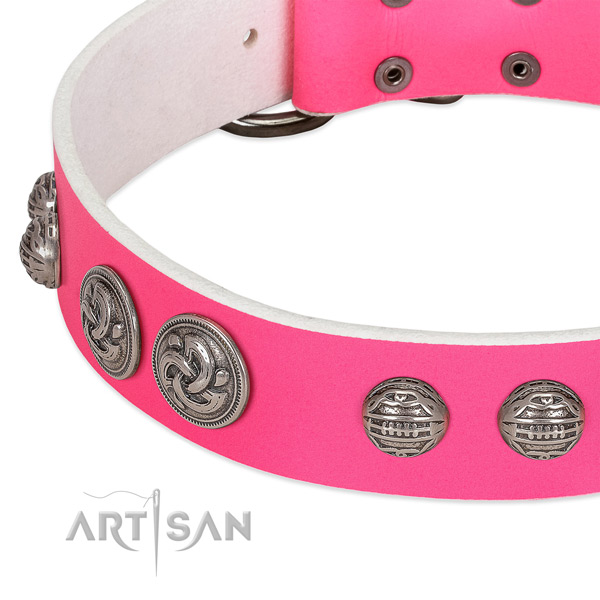 Pink leather dog collar with stylish decorations