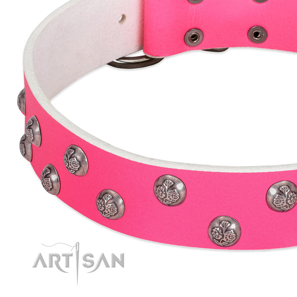 Pink leather dog collar with elegant decorations