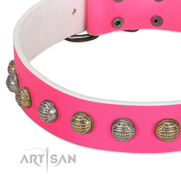 Pink leather dog collar with texture decorations