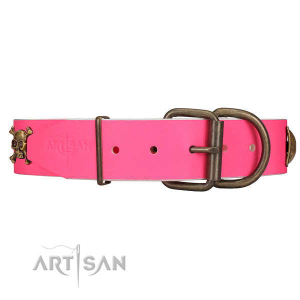 Durable pink leather dog collar with old bronze-like