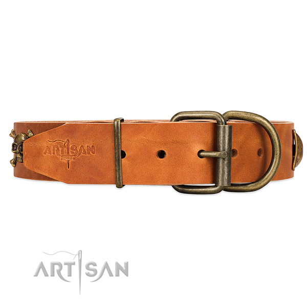 Durable tan leather dog collar with old bronze-like