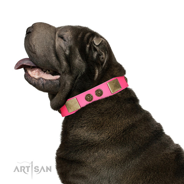 Smooth Leather Shar-Pei Collar with Deluxe Adornments