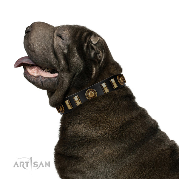 Shar Pei Artisan black leather collar for elegant look