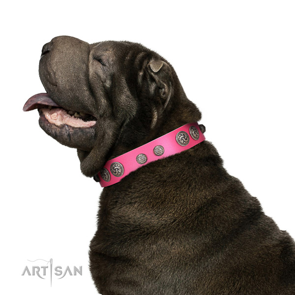 Delux walking pink leather Shar Pei collar with charming decorations
