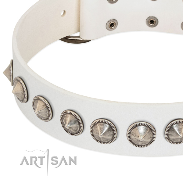White leather dog collar with vintage decorations