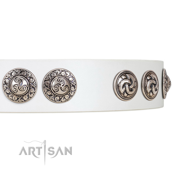 Striking white leather dog collar with engraved