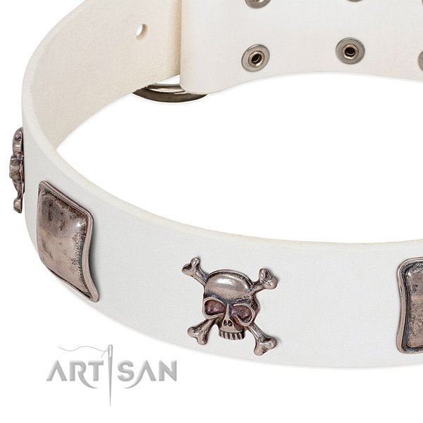 White leather dog collar with voguish decorations
