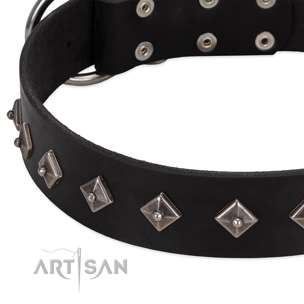 Black leather dog collar with vintage decorations