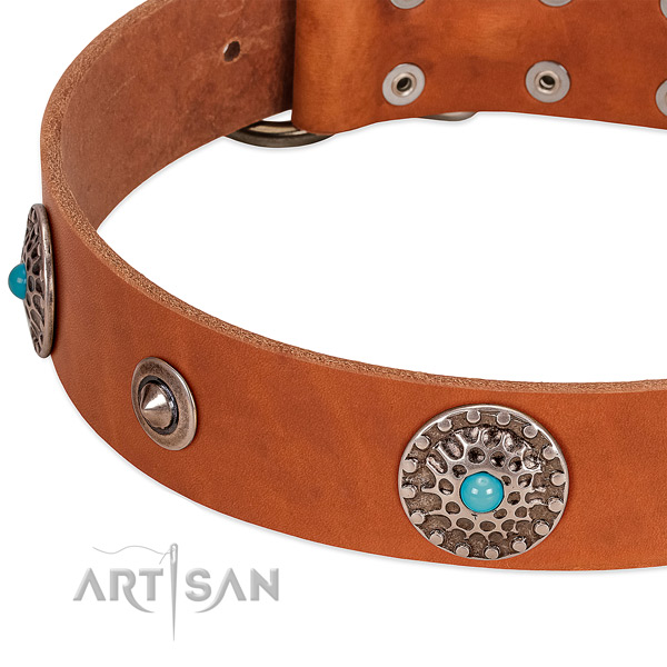 Tan leather dog collar with vintage decorations
