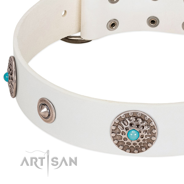 White leather dog collar with vintage decorations and blue stones