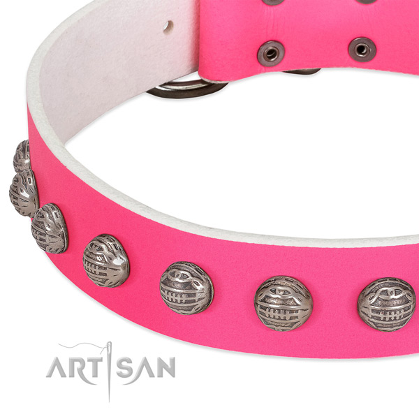 Pink leather dog collar with chic decorations