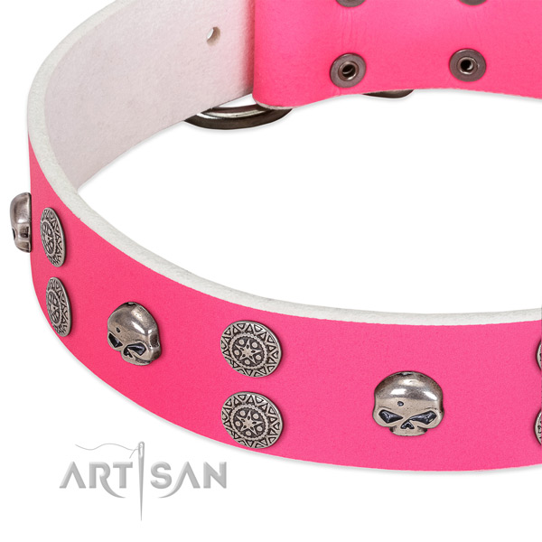 Pink leather dog collar with vintage decorations
